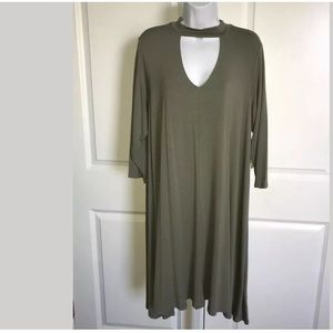 Keyhole Neck Tunic Dress Arcadia Sage Green